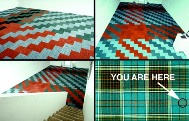 Installation details (left, top and bottom; top right), and(bottom right) the 'You Are Here' note and arrow point to a viewer's position in the'Anderson' plaid geometry.