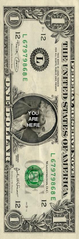 'You Are Here' greenback door dollar